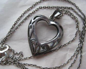 Heart Filigree Sterling Necklace Vintage 925 Silver Pendant