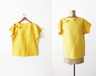 Vintage Yellow Blouse - Cutout Blouse - Bali Cut - Boxy Top - 80s Blouse - Mustard Yellow Blouse - 1980s Clothing - Embroidered Shirt Large