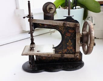 Antique French Toy Sewing Machine, c. 1900, Victorian Christmas, Children's Toy, Miniature, Role Playing