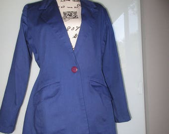 Deadstock Forenza Blue Blazer With Shoulder Pads 1980s