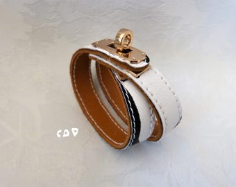 leather strap and metal style hermes 100% handmade