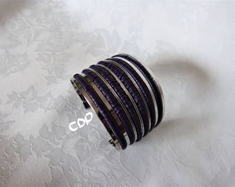 Cuff Bracelet, leather and metal