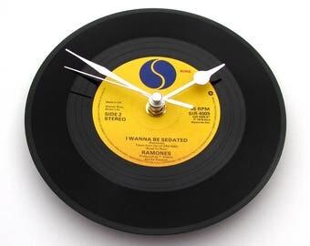 "The RAMONES Vinyl Record CLOCK, ""Baby I Love You"",  Recycled 7"" single, Punk Rock, Romance, punks, gift for dad, mum, boyfriend, girlfriend"