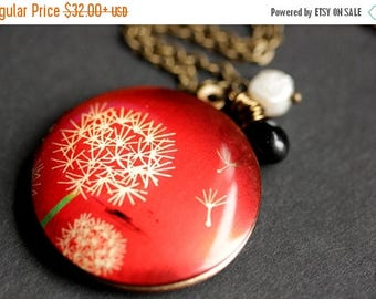 BACK to SCHOOL SALE Make A Wish Locket. Red Locket Necklace with Fresh Water Pearl and Black Teardrop Charm. Dandelion Tuft Necklace. Handma