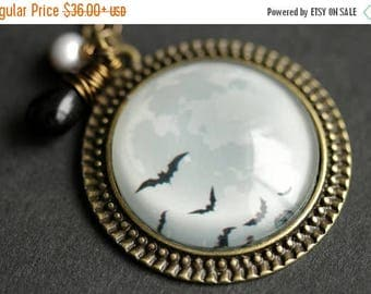 BACK to SCHOOL SALE Flying Bats Necklace. Full Moon Necklace. Halloween Bats Necklace with Black Teardrop and Gray Pearl. Halloween Necklace