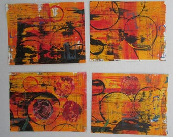 monoprint background ATC art journal gelli print 6 x 8 set of 4 pages abstract contemporary