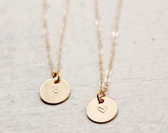Set of 2 14k Gold Filled Heart Necklaces, Gold Heart Layering Necklaces, Mother & Daughter Necklace Set, Mother's Day Gift