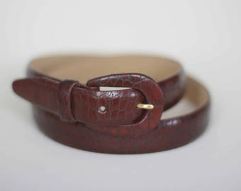vintage liz claiborne brown leather belt faux lizard size large