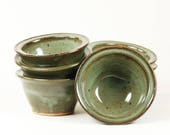 Set of 6 celadon glazed stoneware baking ramekins