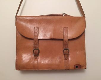 Vintage tan satchel messenger bag handbag