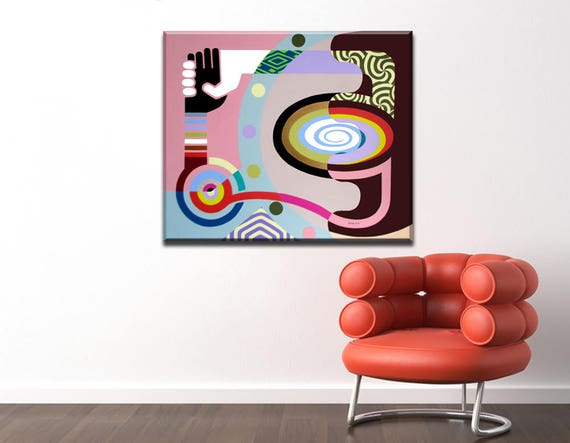 Large Original Abstract Painting, Acrylic Painting Canvas Art, Large geometric Wall Canvas Painting, Cubist Colourful Wall Art
