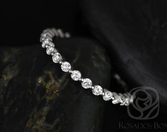 Rosados Box Ready to Ship Petite Naomi/Petite Bubble & Breathe 14kt White Gold Diamonds ALMOST Eternity Band