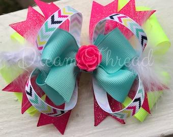 Neon, Glitter, Chevron Double Stacked Loop Boutique Double Stacked Hairbows, Baby Boutique Bows, HairBows