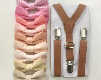 Blush pink Bowtie Tan Leather suspenders for Boys Kids baby toddler Men Groomsmen Groom Wedding Ring Bearer Gift Outfit Peach bow tie Petal