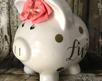 LARGE Personalized piggy bank with coral, peach and gold dots, salmon and gold polka, birthday banks,piggy banks, baby's first piggy bank