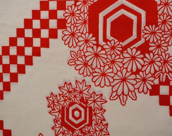 Cotton yukata fabric bolt, red and white, 11.5  meters, made in Japan