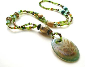Green Agate Necklace - Green Beads - Boho Jewelry