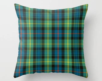 Scottish Plaid Throw Pillow Cover | Accent Pillow | Plaid Print  | Baillie | Decorative Pillow | Home Decor | Green & Blue Sofa Pillow Cover