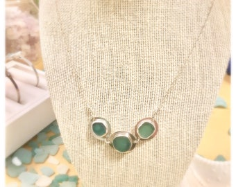 Triple Sea Glass Necklace in Deep Blue Green or White