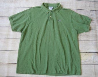 Lacoste Mens Short Sleeve Polo Shirt Size 7 Size XL Made in France Green Vintage