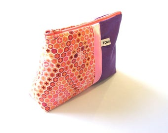 purple and orange geometric make up case , zippered pouch in canvas and graohic fabric ,