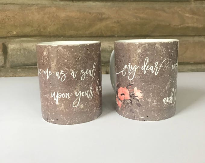 Featured listing image: Set of Engagement Mugs with Endearing Quotes