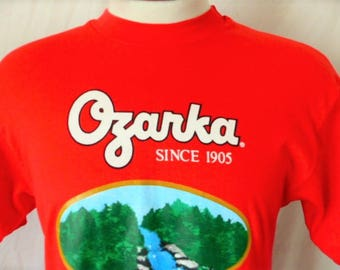 vintage 80s Ozarka Sodium Free water red graphic t-shirt white green blue waterfall spring logo print crew neck tee hanes made in usa medium