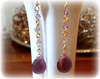purple teardrop crystal amethyst crystal earrings hypoallergenic earrings nickel free earrings long dangle earrings drop beaded jewelry