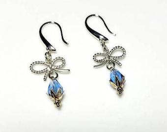 blue crystal teardrop rhodium bow earrings hypoallergenic earrings nickel free earrings silver earrings dangle drop beaded jewelry