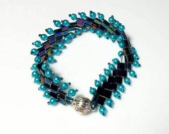 metallic blue tila bead teal seed bead teal pearl bracelet woven cuff bracelet unique beadwork bracelet modern handmade jewelry gift for her