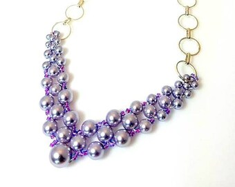 Graduated Purple Swarovski Crystal Pearl Woven Bib Necklace with Silver Chain Lightweight Lavender Necklace Seed Beads Beadwork Jewelry