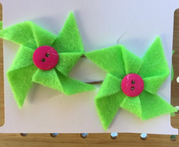 Green and Pink Pinwheel Hair Pins