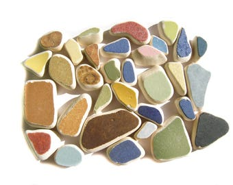 Sea Pottery Jewelry Supply,32 pieces,Solid Colors Sea Pottery Lot, Pendant/Ring Sized,Brown/Green/Mustard/Pink/ Yellow/Blue/, Mosaic Pieces