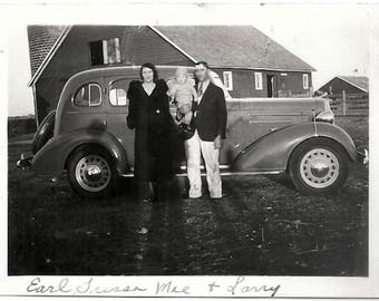 Old Photo Family By Car in Front of House 1930s Photograph Snapshot vintage
