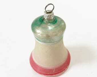 VINTAGE German CHRISTMAS BELL Ornament - West Germany Bell Ornament - Delicate Thin Glass - Clapper Inside - Red White Silver