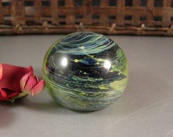 Handmade Studio Glass Paperweight Planetary Celestial Swirl