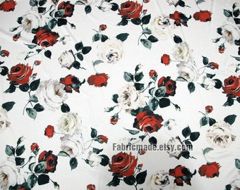 Floral Cotton Fabric, Fashion Dress Fabric Off White Cotton Pink White Rose Flower- 1/2 Yard