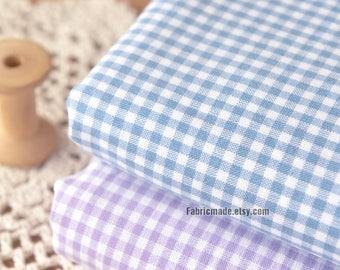 Blue Purple White Plaid Fabric Yarn Dye Check Plaid Cotton - 1/2 Yard