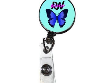 Retractable ID Badge Holder - Butterfly Badge, Butterfly Teacher Nurse Student ID Badge, Butterfly Name Tag