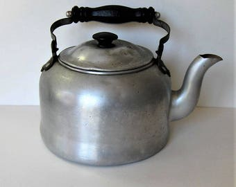 """Large Vintage tin tea kettle, Wooden Handle, 7"""" tall, rustic teapot, French Country decor, stage prop, Shabby Farmhouse kitchen, gift idea"""