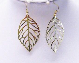 Gold Plated Filigree Leaf Earrings