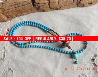 Turquoise mala necklace / March birthstone. Mala 108 -  Buddhist Prayer Beads -  108 bead Mala -  Mala / Necklace  Handmade