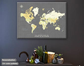 Wanderlust World map canvas / Push Pin map / World map push pin / Push pin travel map / World map wall art / Gifts for travelers