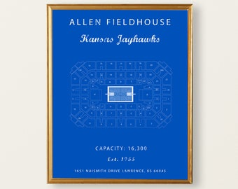 Allen Fieldhouse Seating Chart, Kansas Jayhawks, Jayhawks Sign, Jayhawks vintage, Jayhawks Decor. Gift for Jayhawks Fan University of Kansas