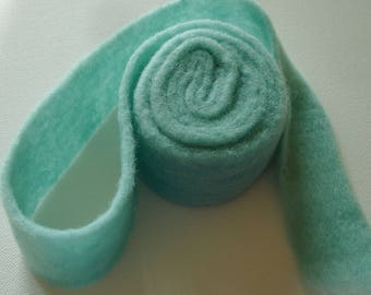 Pre-felted Wool Ribbon in Aqua Cyan - 1 7/8 inch. wide - 62 inch. long