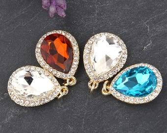 Clear, Crystal Pendant with Gold Tone Brass,  Teardrop Crystal Pendant, 1 piece // GP-499