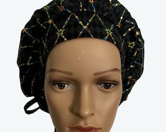 Bouffant Surgical Scrub Hat - Fancy Diamond Shape Stars on Black Bouffant scrub hat - Custom Scrub - Doctor gift