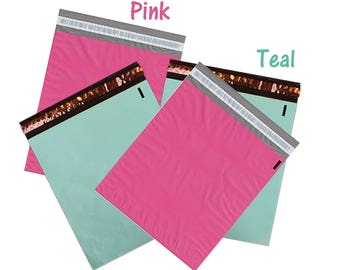 "50, 100) 12x15.5"" Pink and Teal Flat Poly Mailers, Mailing Shipping Bags, Colored Poly Mailer Vibrant Self Seal Wrappingmeup Envelopes Combo"