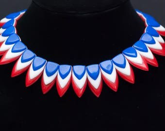 RARE Trifari Red White and Blue Sunburst Pattern Choker Necklace 1960s 1970s