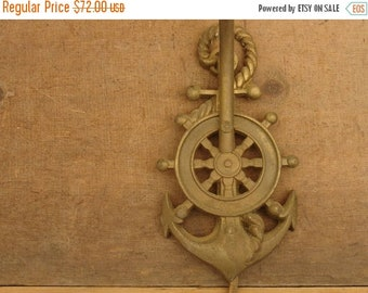 ON SALE antique 20's cast iron gold painted nautical ship anchor sconce light